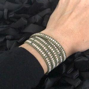 Chan Luu Mix Wrap Natural Khaki Leather Bracelet